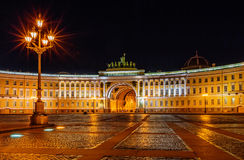Palace square in Saint Petersburg at night Stock Images