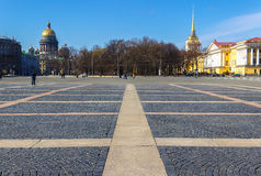 The Palace Square in Saint Petersburg. View of the Saint Isaac's Cathedral and the Admiralty Building Stock Photography