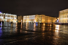 The Palace Square in St.Petersburg at night Stock Photo