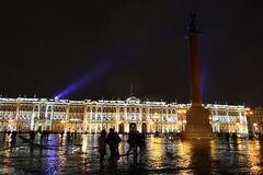 The Palace Square in St.Petersburg at night Stock Photography