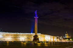 Palace Square in St. Petersburg at night illumination Royalty Free Stock Photos