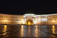 Palace Square St Petersburg Russia on a rainy night Stock Photos