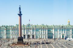 Palace Square with State Hermitage Museum and Winter Palace in Royalty Free Stock Photo