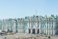 Palace Square with State Hermitage Museum and Winter Palace in Royalty Free Stock Photography