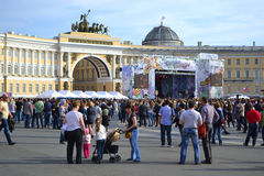 Palace Square on Victory Day Stock Photo