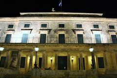 Palace of St. Michael and St. George in Corfu at night Royalty Free Stock Photos