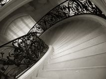 Palace stairs. Detail monochrome image stock photo