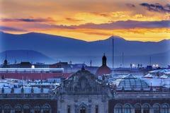 Palace Sunrise Zocalo Ciudad de México de presidente imagen de archivo