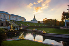 The Palace at sunset in Peterhof Royalty Free Stock Photo