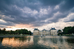 Palace at sunset view. The French Senate palace in the Luxembourg park at sunset Royalty Free Stock Photo