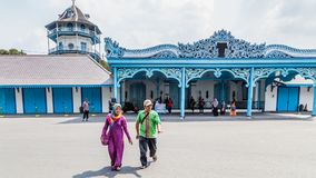 Palace in Surakarta, Indonesia. Solo, Indonesia - November, 02, 2017:  Colorfull blue Palace of the sultan in Surakarta, Java Indoensia Royalty Free Stock Images