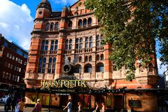 The Palace Theatre with Harry Potter and the Cursed Child show. A side view of the Palace Theatre promoting its play Harry Potter and the Cursed Child in London Stock Images