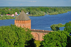 Palace Tower of  Novgorod Kremlin from a height, Veliky Novgorod Stock Photos