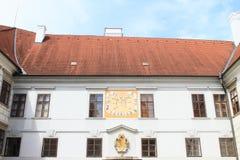 Palace Trebon. White renaissance palace in Trebon (Czech Republic) with sun-dial and golden blazon Stock Images