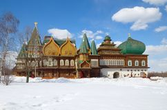Wooden palace of tzar Aleksey Mikhailovich in Kolomenskoe reconstruction, Moscow, Russia. The Palace of Tsar Alexei Mikhailovich in Kolomenskoye Royalty Free Stock Photos