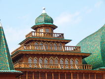 Palace of the Tsar Alexey Mikhailovich from the XVII century. A reconstructed wooden Palace of the Tsar Alexey Mikhailovich, XVII century. It is located in royalty free stock images