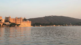 Palace at Udaipur. In the evening, Rajasthan, India stock footage