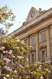 Palace of the Venerable Factory of the Duomo of Milan with magnolia flowers. stock photography