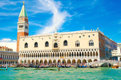 Palace in Venice. Piazza San Marco with Campanile and Doge`s Palace in Venice, Italy stock photography