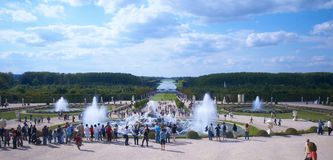Palace of Versailles. Panoramic of the garden and fountains outside the Chateau Versailles in France Royalty Free Stock Photography