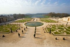 Palace of Versailles. Wide angle view of the gardens at the Palace of Versailles, France Royalty Free Stock Images