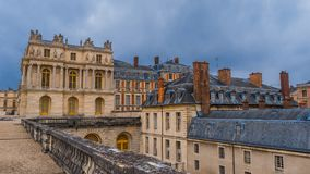 Palace of Versailles: Art gallery Galerie des Batailles view from the outside against the cloudy sky stock photo