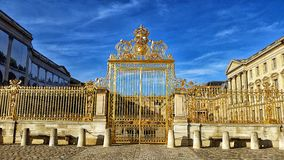 Palace of Versailles in Paris France. Front gate of King Louie's Palace Stock Photos
