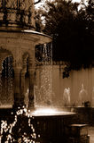 Palace water fountains. A view of water fountains in Udaipur Palace, India stock photography