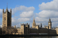 Palace of Westminster. House of Lords and commons landscape looking across the river Thames Stock Photos
