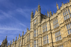 The Palace of Westminster. Building exterior of West side (Old Palace Yard) of the Palace of Westminster, above Peers' Entrance Royalty Free Stock Images