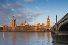 Palace of Westminster, Big Ben and Westminster bridge. In the morning , London, England Stock Photo