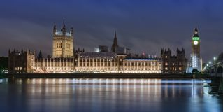 Palace of Westminster, Big Ben and Westminster bridge. At night , London, England Royalty Free Stock Photography