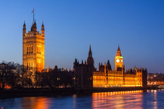 Palace of Westminster, Big Ben clock tower and Houses of Parliament in London by  night Stock Photo