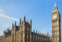 Palace of Westminster and Big Ben, London. On a summer day Royalty Free Stock Photo