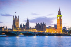 The Palace of Westminster Big Ben at night, London, England, UK. Canon EOS 5 d mark2 Royalty Free Stock Photo