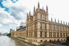 Palace of Westminster and Big Ben on restoration. Surrounded by scaffolding Royalty Free Stock Photography