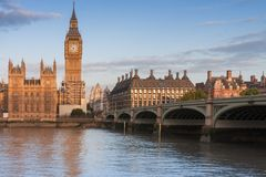 Palace of Westminster, Big Ben and Westminster bridge. In the morning , London, England Royalty Free Stock Images