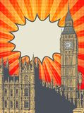Palace of Westminster and Elizabeth Tower. Abstract poster with Palace of Westminster and Elizabeth Tower - famous London Landmark, vector illustration stock illustration