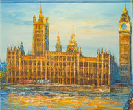 Palace of Westminster and Elizabeth Tower-BIG Ben of London - Oil Painting. Oil Painting of Palace of Westminster and Elizabeth Tower known as Big Ben Royalty Free Stock Photo