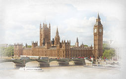 The Palace of Westminster, Elizabeth Tower and Westminster Bridge. Photo in retro style. Added paper texture Royalty Free Stock Images