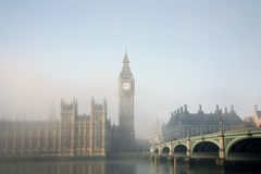 Palace of Westminster in fog Stock Image
