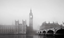 Palace of Westminster in fog Royalty Free Stock Photo
