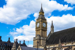 Palace of Westminster, Houses of Parliament. UNESCO World Heritage Site. Palace of Westminster fragment (known as Houses of Parliament) with clock tower located Royalty Free Stock Image