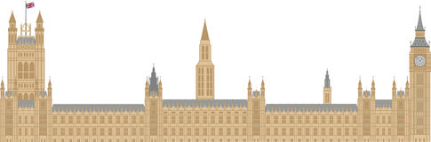 Palace of Westminster Illustration. Palace of Westminster Houses of Parliament with Big Ben Clock Tower in London Illustration Stock Photo