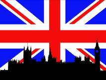 Palace of Westminster London. Against British Flag Royalty Free Stock Photography