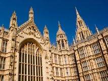 Palace of Westminster London. Parliament House London - Palace of Westminster West Entrance Royalty Free Stock Image