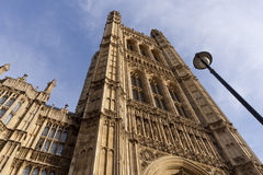 The Palace of Westminster (Houses of Parliament) i. Victoria Tower and the Palace of Westminster (Houses of Parliament) in London Stock Photo