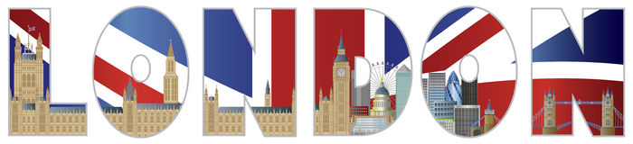 Palace of Westminster and London City Skyline Text. Palace of Westminster Houses of Parliament with Big Ben Clock Tower London Skyline in London Text Outline Royalty Free Stock Images
