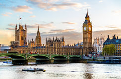 The Palace of Westminster in London in the evening Stock Images