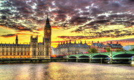 The Palace of Westminster in London in the evening Royalty Free Stock Photography